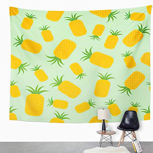 Y·JIANG Bonito tapiz, piña sobre verde jugoso verano comida fruta hogar dormitorio decorativo tapiz grande manta para colgar en la pared para sala de estar dormitorio, 152,4 x 127 cm