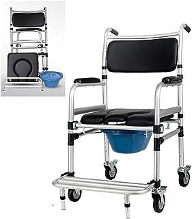 Toilet chair Silla de Ruedas, Silla de Ducha portátil de Aluminio/Silla de Inodoro