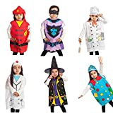 IQ Toys Dress Up Costumes Trunk Set - Firefighter, Chef, Doctor, Clown, Witch, Gotham - Kids Costume Dress Up - 6 Pack