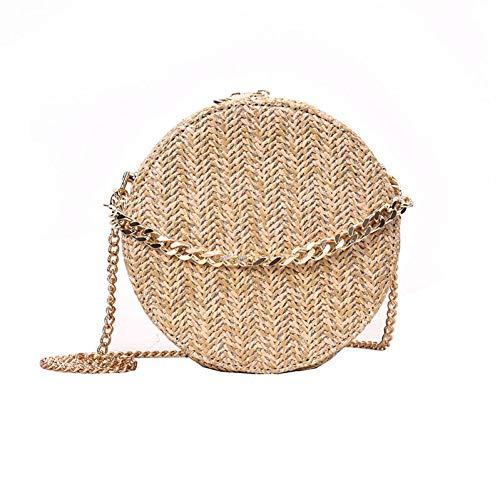 DSHHF Bolso de hombro redondo para mujer tejido a mano Bolso Bohemio Verano Paja Playa Bolso Viaje Compras Mujer Bolsos de cadena