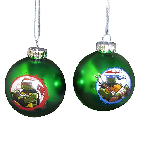 Kurt Adler Teenage Mutant Ninja Turtles Glazen Ball Ornament, 60 mm, Set van 2