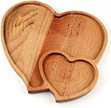 Hand Made Wooden Binary Heart tray Side by Side 27x25cm (Natural Wood)