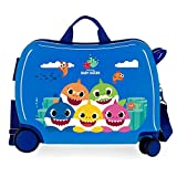 Baby Shark Happy Family Maleta Infantil Azul 50x38x20 cms Rígida ABS Cierre combinación 34L 2,1Kgs 4 Ruedas Equipaje de Mano