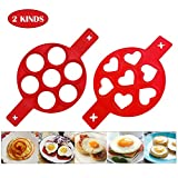 Omelette Mold,Pancake Mold Ring, 2 Silicone Pancake Molds; Reusable Silicone Non-Stick Pancake Machine Egg Ring for Egg Maker Makes Your Chef More Fun. (red)