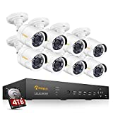 Anlapus 16 Channel H.265+ 1080P Security Camera System 4TB Hard Drive, 16 Channel 5-in-1 DVR Recorder with 8pcs 1080P Night Vision Weatherproof Surveillance Camera for Outdoor Indoor Use