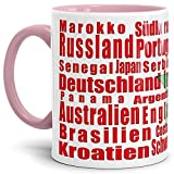Tassendruck Flaggen-Tasse WM Teilnehmer - Fahne/Länderfarbe/WM 2018/Weltmeisterschaft/Cup/Tor/Qualität Made in Germany Marokko Innen und Henkel Rosa
