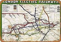 ロンドン電気鉄道ヴィンテージルックメタルサイン家の装飾8x12インチの家の装飾20x30cm