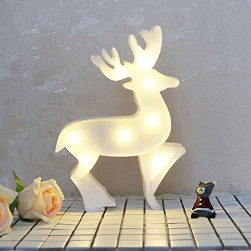 TPYFEI Cartoon Christmas 3D Night Light LED Christmas Deer Decoración Light Living Room Decoración del Dormitorio Animal Night Light White