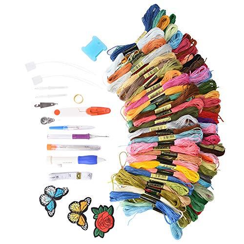 Ricamo magico Set 100 Colori Fili FAI DA TE Ricamo Penna Punch Needle Kit Ricamo Cucito Punch Aghi Craft Tool Set FAI DA TE Cucito Knitting Infeltrimento Forniture