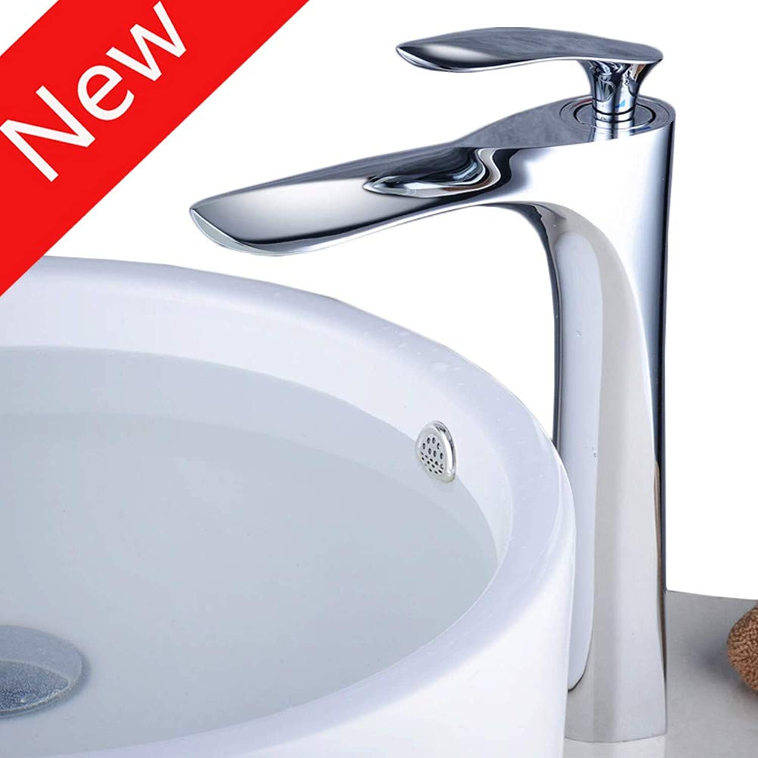 Faucettall Counter Top Basin Mixer Tap Curved Bathroom Sink Tap Designer Style,Chrome