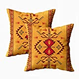 HerysTa Pillow Cases Home Decorative Body Pillow Cover Pack of 2 18X18inch Invisible Zipper Cushion Cases Geometric Pattern Native American Southwest Print Ethnic Square Sofa Bed Décor,Orange Red