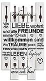 Artland Wandgarderobe Holz Design mit 8 Haken Garderobe Paneel mit Motiv 63x114 cm Spruch Schriftzug Kunst Liebe Familie Zuhause Grau T9IR