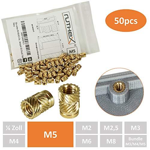 ruthex® Gewindeeinsatz M5 (50 Stück) | RX-M5x9,5 Messing Gewindebuchsen | Einpressmutter für Kunststoffteile | durch Wärme oder Ultraschall in 3D-Drucker Teile