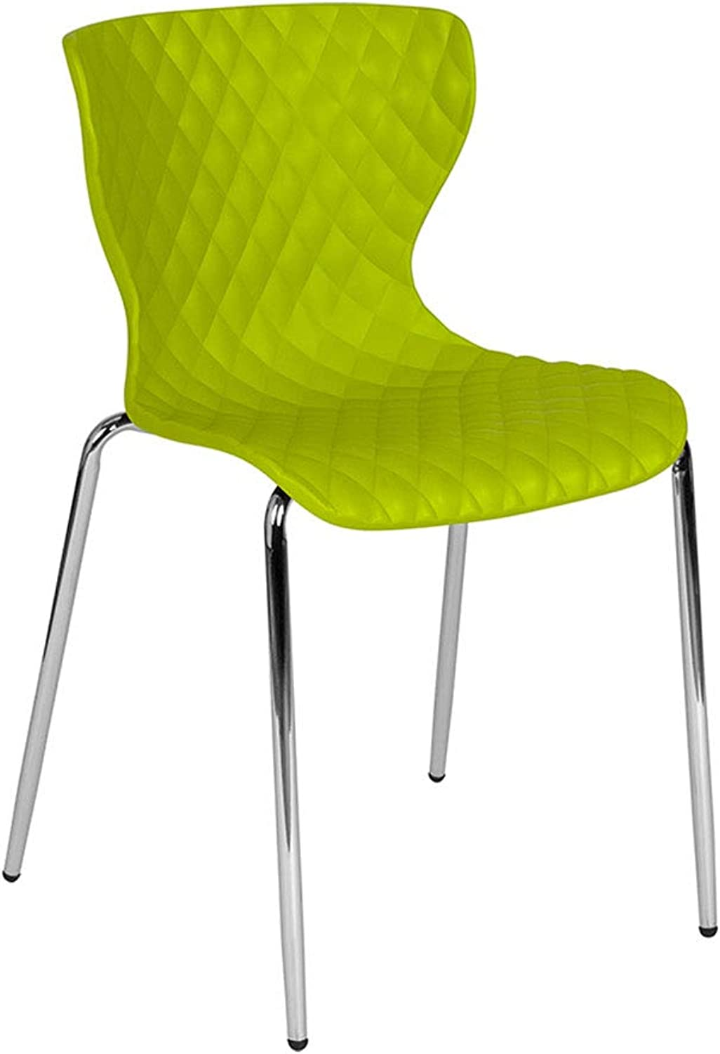 Offex Contemporary Design Curved Back Plastic Stack Chair, Citrus Green