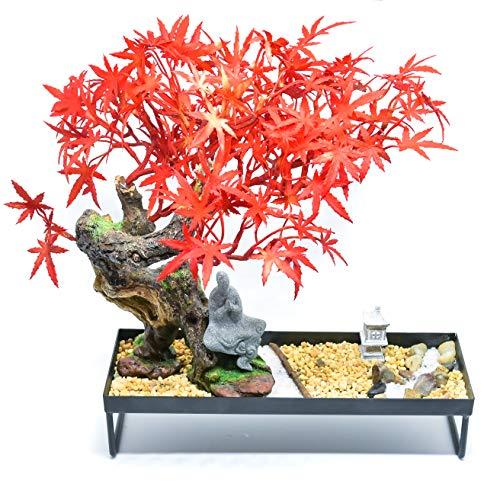 GET CHAKRAED Japanese Zen Garden with Red Maple Bonsai Tree Set with Sand, Beach Pebbles, Fine Quartz, Sand Rock, Bamboo Rake, Meditation Buddha, Stone Lantern - Relaxation Home and Office Sand Garden