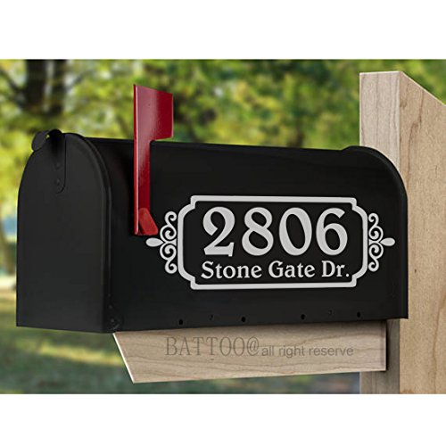 "BATTOO Rustic Mailbox Decals Vinyl Decals for Mailbox Vinyl Monograms Address Decals Country Rustic Address Curb Appeal Home Decor 10"" wide by 3.5"" tall PLUS free hello door decal"