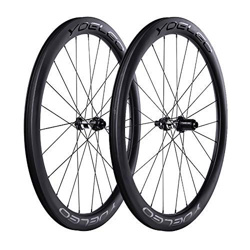 YOELEO Road Bike Wheels SAT C50 Disc Brake PRO Clincher Carbon 700C Bicycle Wheelset for Training and Racing (DT Swiss 240s for Shimano, No Decal)