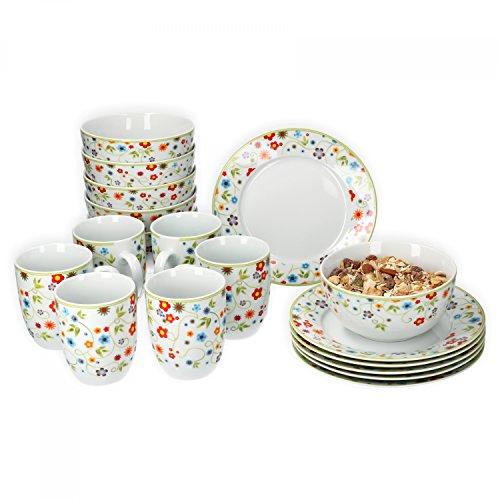 Van Well Frühstücksset 18-TLG. für 6 Personen Serie Vario Porzellan - Farbe wählbar, Farbe:Flowers
