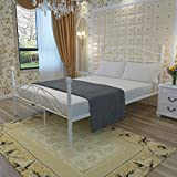 WEIBO 4FT6 Modern Stylish Ivory Double Metal Bed Frame White Iron Bedstead for Kids Adult Bedroom