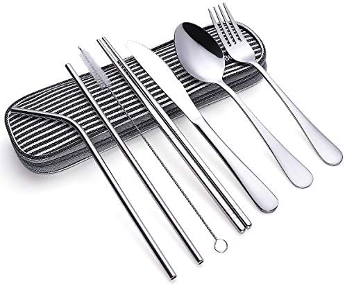 Travel Utensils Reusable Silverware Set To Go Portable Cutlery Set with a Waterproof Carrying product image