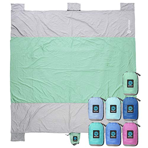 WildHorn Outfitters Sand Escape Beach Blanket. Compact Outdoor Beach Mat Made from Strong Parachute Nylon. Large 7' x 9' Size....