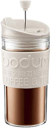 BODUM Travel Press Coffee Maker with Extra Lid, 0.35L/12oz, White