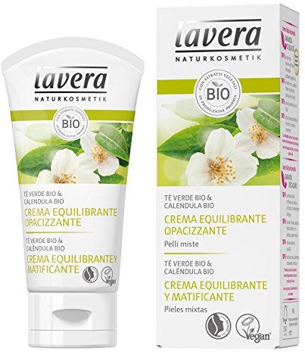 Lavera Crema Equilibrante y Matificante - Te verde bio & calendula bio - vegano - cuidado facial biologico - cosmeticos naturales 100% certificados - cuidado de la piel - 50 ml