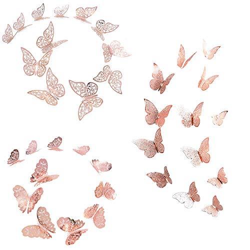 YQ 36 Stücke3D Schmetterling Dekorationen Schmetterling Aufkleber Wandsticker DIY Wandkunst Aufkleber Wandtattoo Wanddeko für Wohnung, Raumdekoration (roségold)