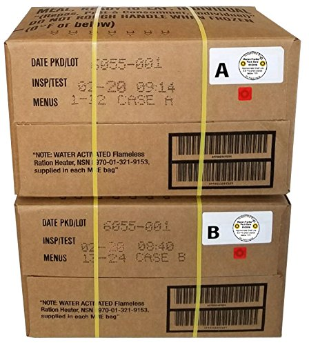 MRE 2020 Inspection Date Case, 24 Meals with 2020 Inspection Date, 2017 Pack Date. Military Surplus Meal Ready to Eat. (A and B Bundle)