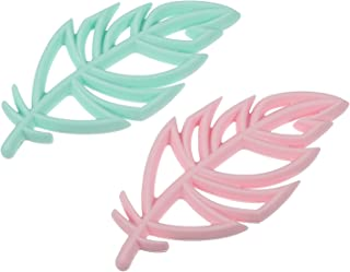 STOBOK 2 Pcs Baby Teething Toys Leaf Shaped Silicone Baby Teether Animal Soothing Pacifier Toys for Teething Pain Relief I...