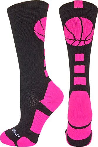 MadSportsStuff Basketball Logo Athletic Crew Socks, Small - Black/Neon Pink
