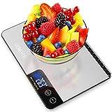 Balance Cuisine, HOMEVER 15kg Balance de Cuisine Electronique de Haute Précision, LCD Rétroéclairé Acier Inoxydable, Arrêt Automatique, Fonction Tare/Zéro, Argent