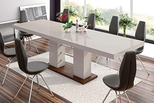 Furniture24 Design Esstisch Linosa - 2 in 3 Stufen ausziehbar 160cm / 210cm / 260 cm Hochglanz Acryl Tisch Küchentisch (Wenge/Cappucino Hochglanz)