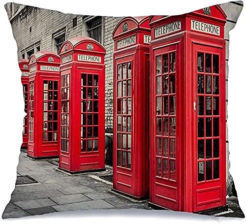 Paedto Cojín Decorativo de Tiro Funda de cojín, Negro Cabinas telefónicas Rojas Cabina telefónica Westminster Londres Inglaterra Blanco Cabina de teléfono Ciudades Cabina Funda de Almohada Reino