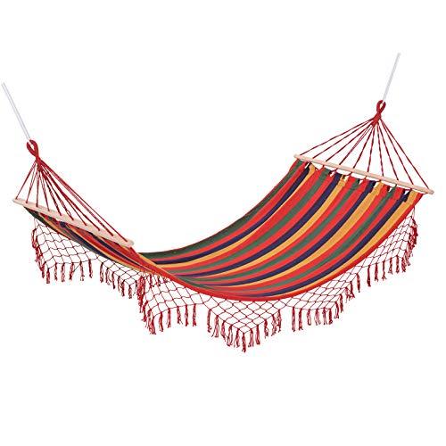Outsunny Hamac de Voyage Respirant Portable Toile de hamac dim. 2L x 1l m Coton Polyester Multicolore