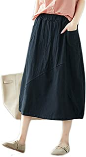 Women's Solid Cotton Linen Retro A-line Skirt Dress with Pockets
