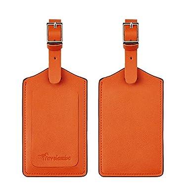 Travelambo Genuine Leather Luggage Bag Tags (Orange 3243 Hot Orange)