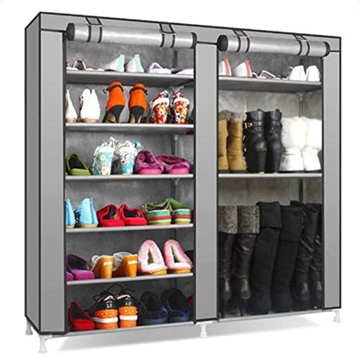 Ampblue Organizer Cabinet 9 Layer Shoe Rack Closet Plastic Grey Color