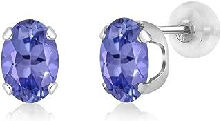 Gem Stone King 1.64 Ct Oval 7x5mm Blue Tanzanite AAA 14K White Gold Stud Earrings