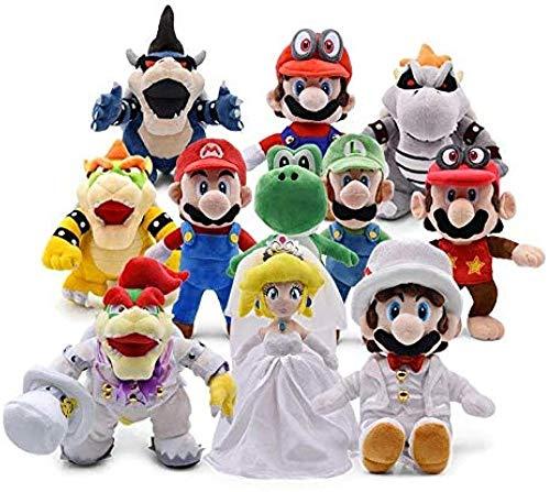 NC86 Super Mario Bros Spielzeug 11 Stück/Los Super Mario Odyssey Brautkleid Luigi Pfirsich Yoshi Diddy Kong 3D Landknochen Kuba Drache Dark Bowser Koopa Plüschtier