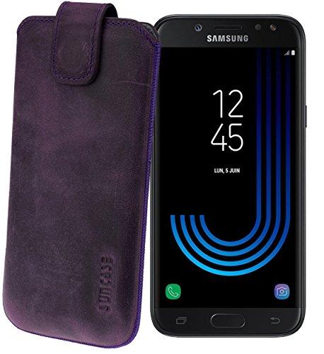 Suncase Original Etui Tasche für Samsung Galaxy J7 2017 (DuoS) | mit ZUSÄTZLICHER Hülle/Schale/Bumper *Lasche mit Rückzugfunktion* Handytasche Ledertasche Schutzhülle Hülle Hülle in antik-lila