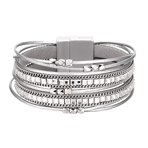 Fesciory Women Multi-Layer Leather Wrap Bracelet Handmade Wristband Braided Rope Cuff Bangle with Magnetic Buckle Jewelry(Short Gray)
