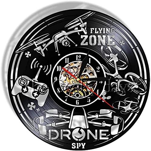 XYLLYT Drone Disco de Vinilo Reloj de Pared Drone Reloj de Movimiento Volador decoración Mudo único Cartel para Colgar en la Pared de la Oficina en casa