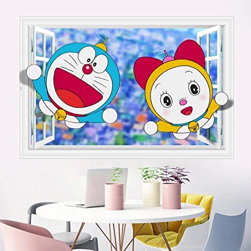pegatina Nobita Doraemon Dibujos animados 3D Fake Windoy Pegatinas de pared Habitación infantil Decoración de kinder Papel tapiz 60x90cm