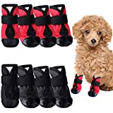 Weewooday 8 Pieces Dog Shoes Waterproof Dog Boots Non Slip Rain Shoes Paw Protector for Snow Rain Day Middle and Small Dogs Teddy Pomeranian Bichon (Small)