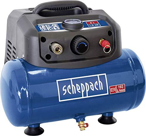 Scheppach Kompressor HC06 (1200 W, 6 L, Ansaugleistung 192 L/min, 8 bar, ölfrei, ergonomische Bauform, Standfüße, tragbar) inkl. umfangreichem Zubehör-Set