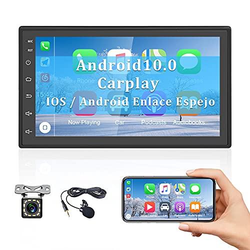 CAMECHO Android 10.0 Radio de Coche con CarPlay y Android Auto Navegación GPS 7 Pulgadas Pantalla táctil Bluetooth WiFi FM iOS/Android Enlace Espejo+Cámara Trasera+ Micrófono Externo +Doble USB