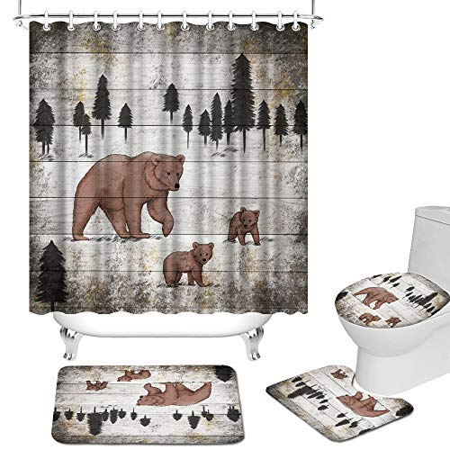 Bear Shower Curtains and Rug Set for Bathroom Rustic Mom and Baby Bears Animal Bath Curtain Set with Non-Slip Rug Toilet Lid Cover Bath Mat and 12 Hooks Vintage Bathroom Decor