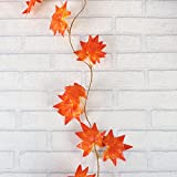 WINOMO 2 Stücke Herbstgirlande mit Ahorn Blättern Tischdeko künstlich Fensterdeko 2.4M - 6