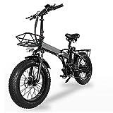 WBYY 750W Bicicleta eléctrica Plegable, Bicicleta de montaña portátil, 48V batería de Gran Capacidad, Freno de Disco Delantero y Trasero,48V 24AH